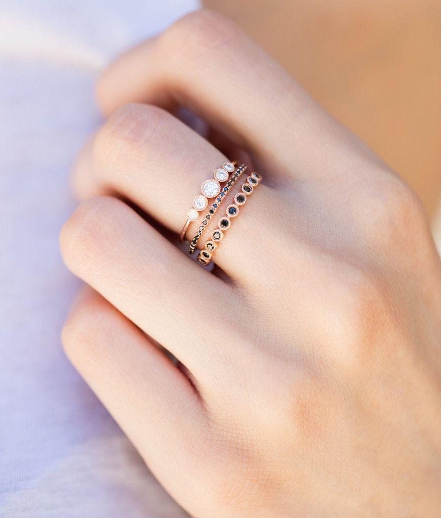 14kt rose gold and black diamond petite ballerina ring – Luna Skye ...