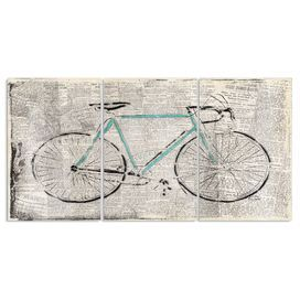 Bicycle on Newspaper Print 3 Piece Graphic Art