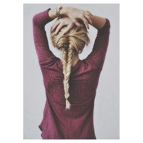 Blonde fishtail braid, cute red/maroon sweater