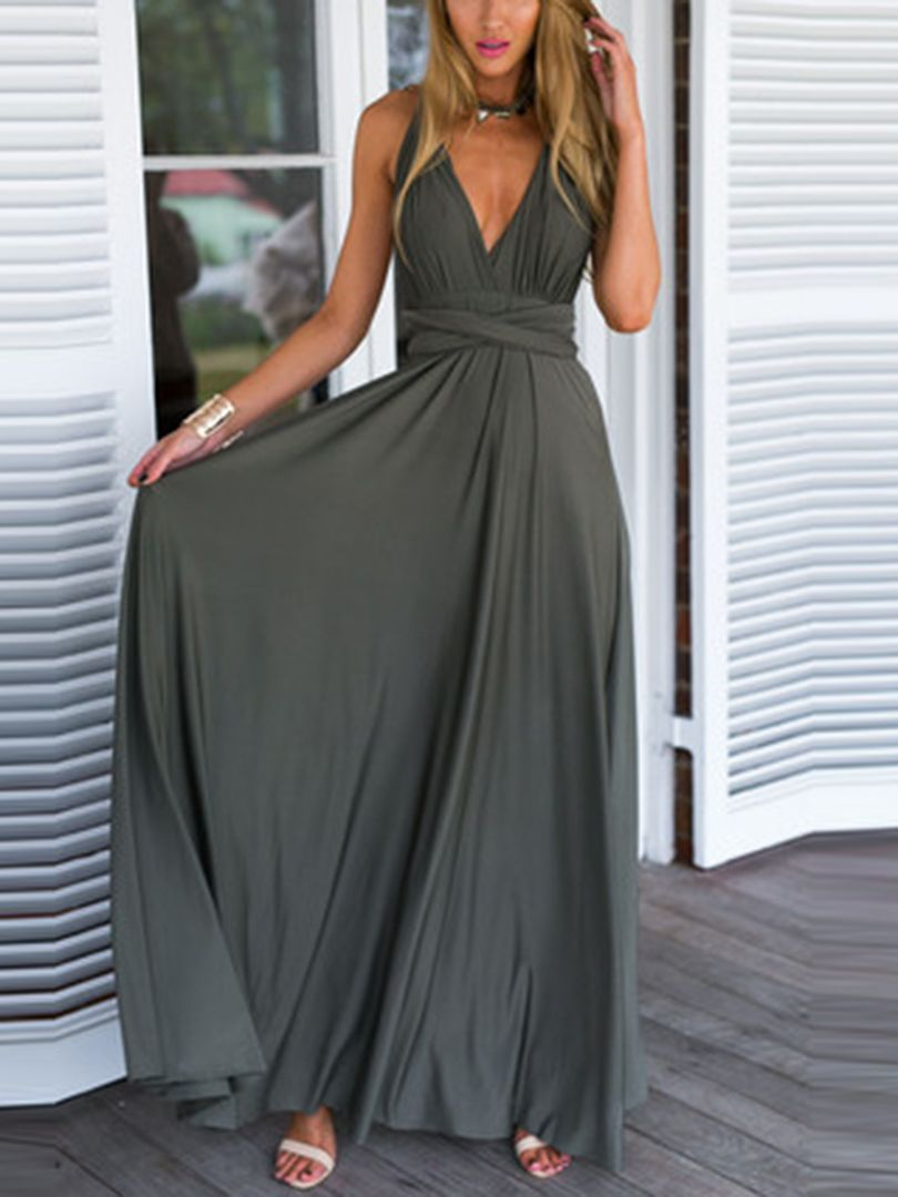 Olive Green Multiway Elastic Cross Maxi Dress | Choies | beauty care ...