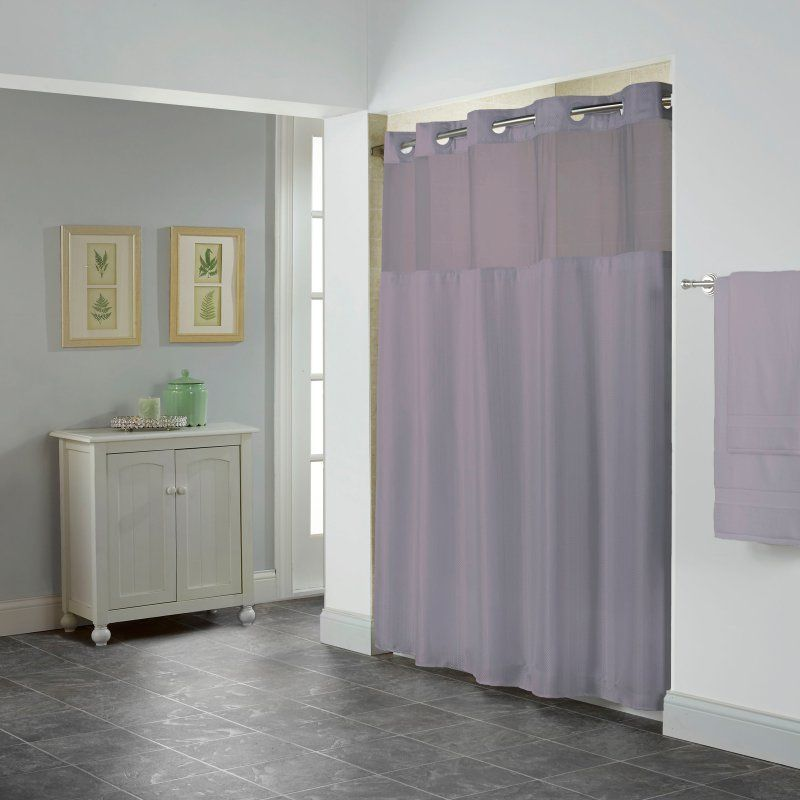 Hookless Shear Herringbone Shower Curtain With Snap On Liner