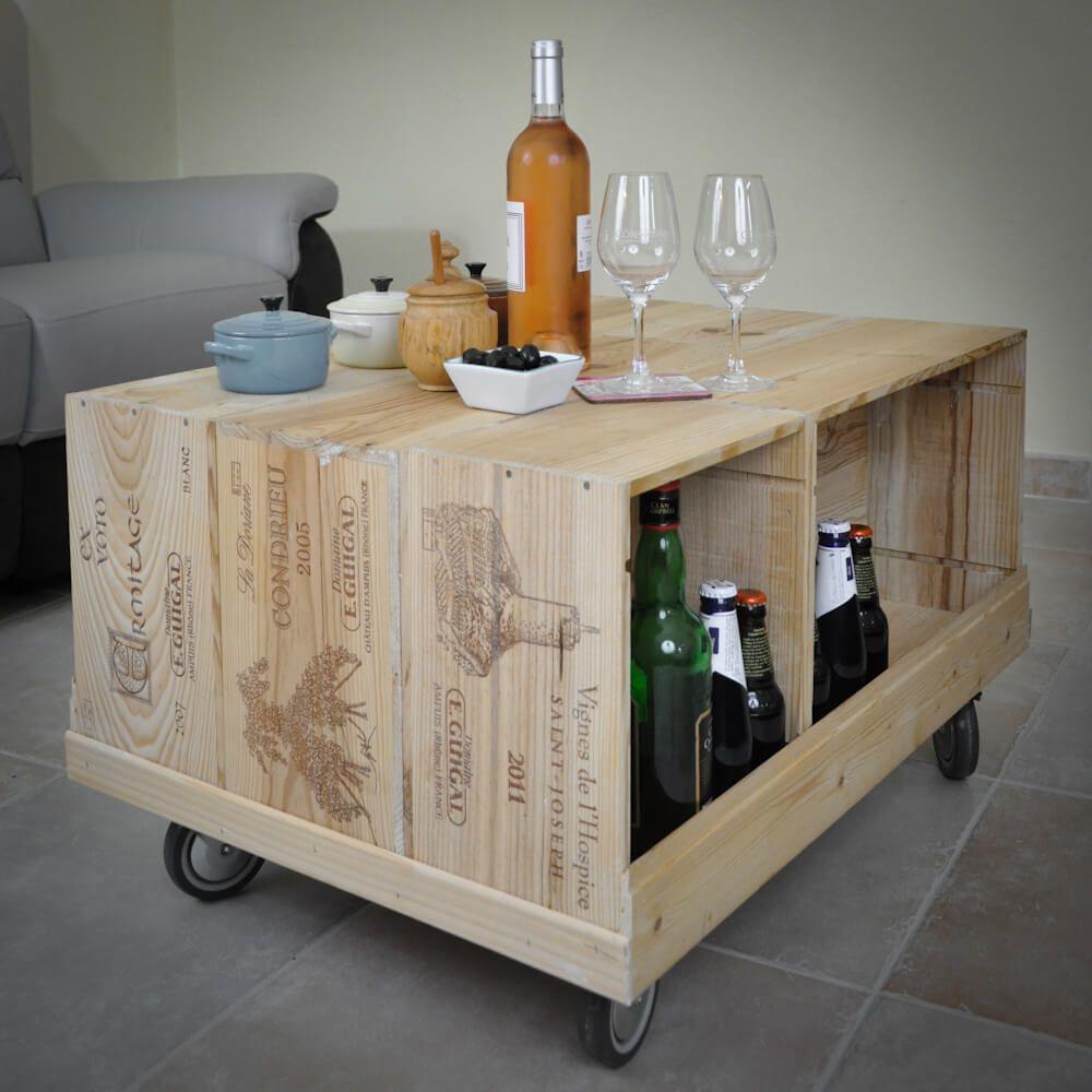 R sultat de recherche d 39 images pour table basse caisse vin bois bricolage deco caisse de - Meuble tv caisse bois ...