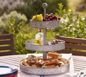 Tiered Galvanized Stand From Pottery Barn Would Be A Nice Accent For A Brunch Outdoors Adding Height To Tabl Metal Cake Stand Tiered Stand Galvanized Metal