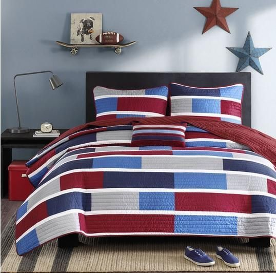 Boys Teen Red White Blue Gray PREPPY GEOMETRIC Quilt Coverlet BED SET FULL  QUEEN