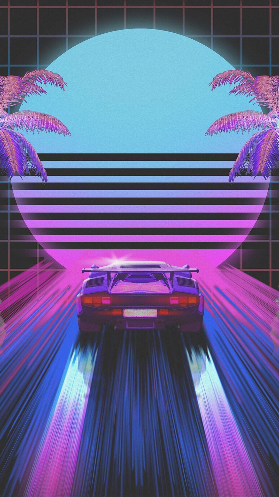 car, retro, art, 80s, neon