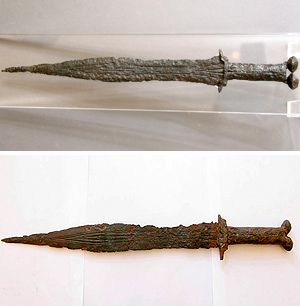Celtiberian antennas sword, 3rd century BC, Numantino Museum. The lower sword is from E-bay.