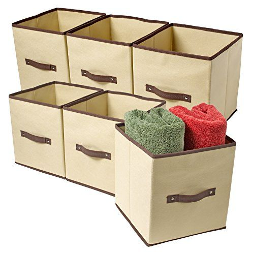 Ziz Home Set Of 6 Fabric Organizer Cubes Collapsible Bins Foldable Storage  Basket Containers Boxes * You Can Get More Details By Clicking On The Image.