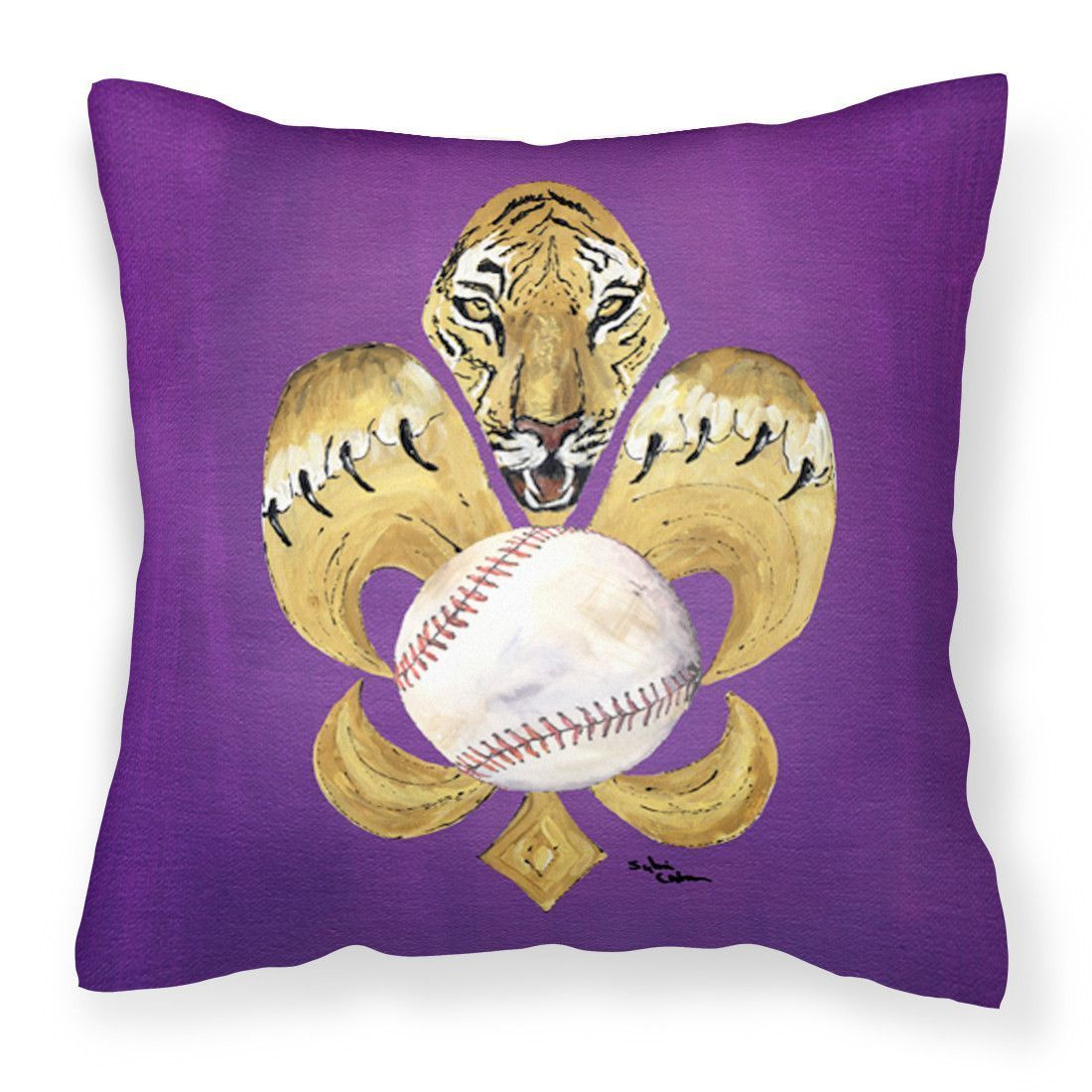 Tiger Fleur de lis Baseball Fabric Decorative Pillow 8476PW1414