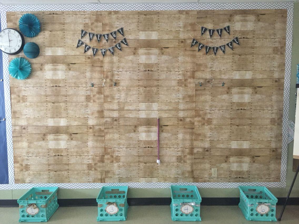 Classroom Border Ideas ~ Shabby chic bulletin board wood paper chevron border