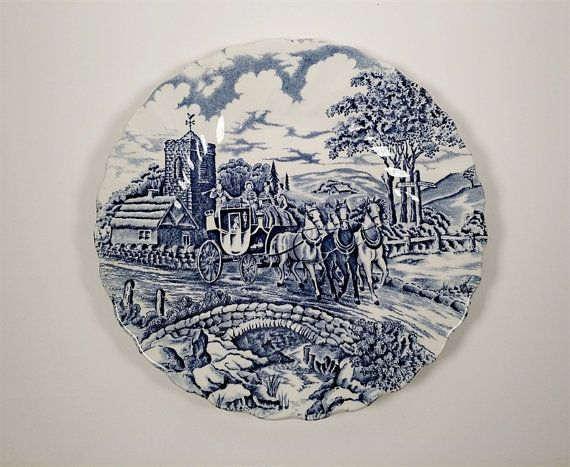 Blue & White China Saucer with Bucolic Countryside by VineStMarket
