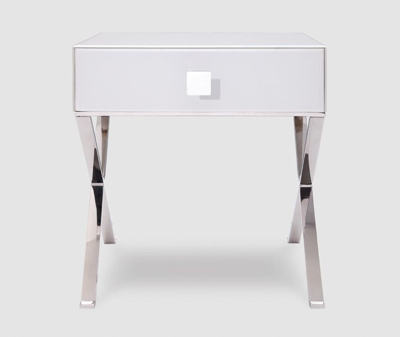 Beautiful White Bed Table Part - 5: Richmond White Glass U0026 Chrome Bedside Table