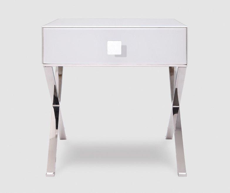 Zurich White Glass Chrome Bedside Table Shropshire Design