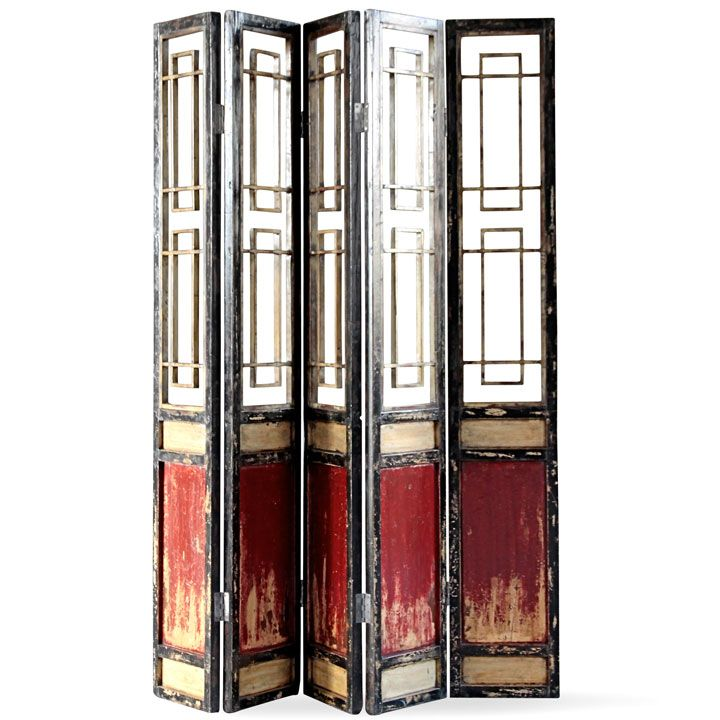 This large folding screen is made from old internal panels that would once have formed a dividing wall in a Chinese home. The panels have been refinished in a distressed red, black and cream lacquer and hinges added so that they can be used today as a standalone screen. A beautiful way to section off part of a large room, or use it as a backdrop against a wall.