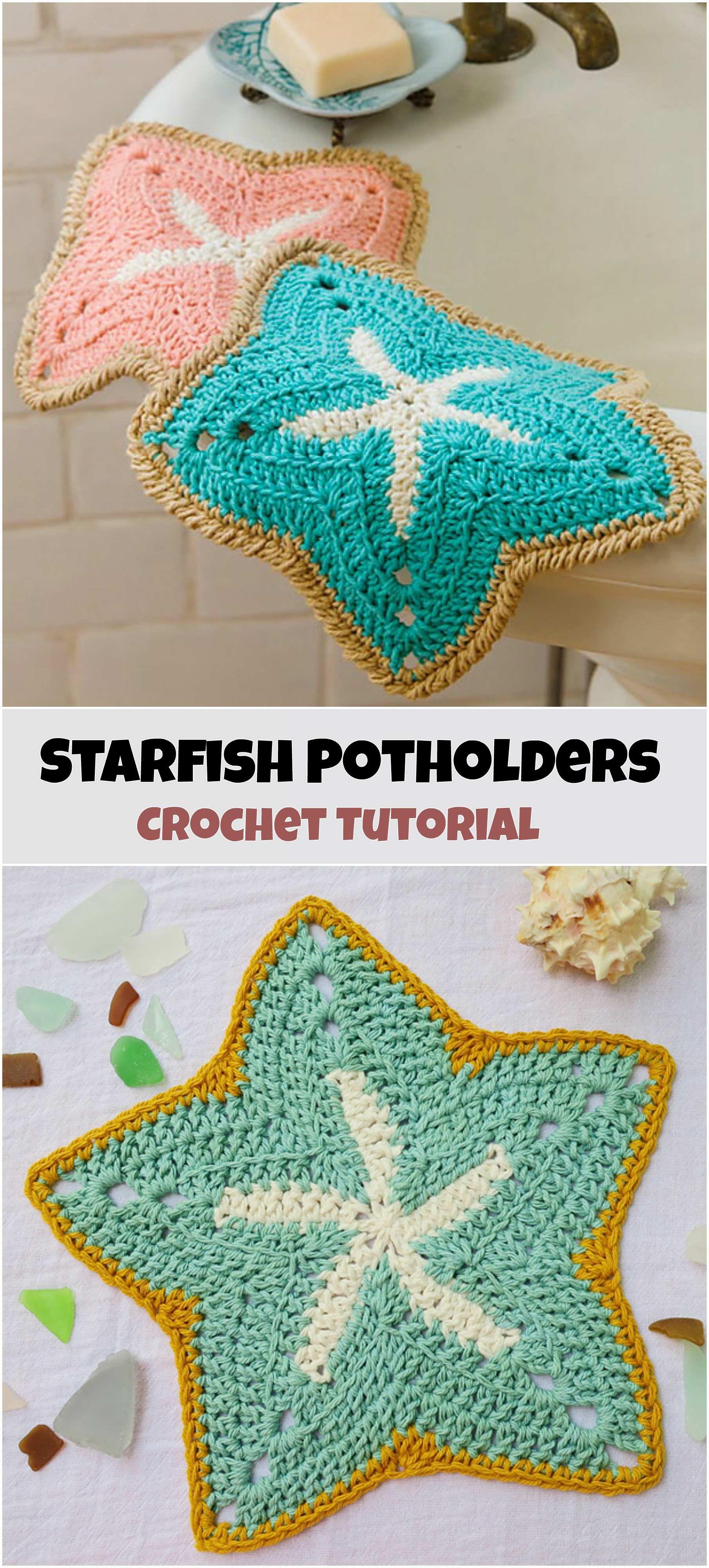 Crochet Starfish Potholders | Crochet | Pinterest | Frascos, Macetas ...