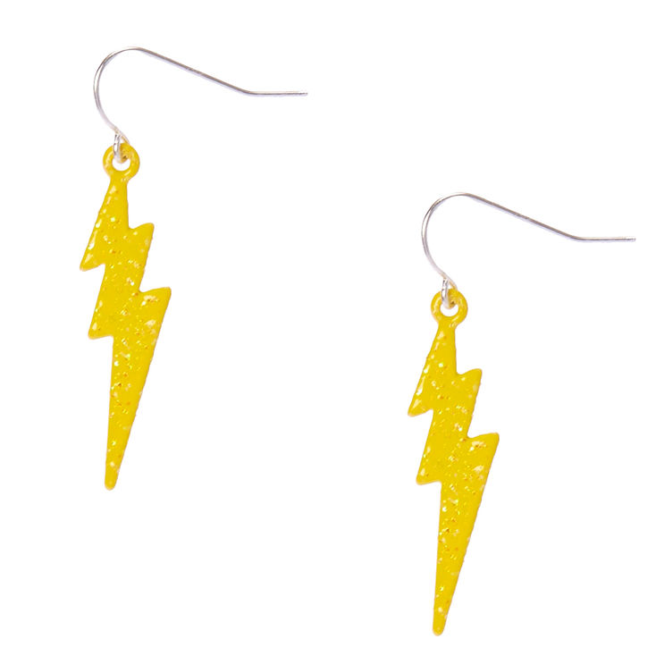 Claire S Yellow Lightning Bolt Drop Earrings Products In