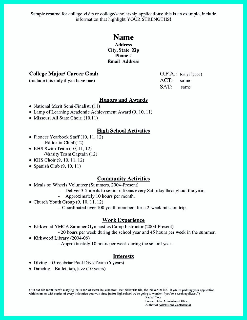 for high school students it is sometimes troublesome to write college admission resume simple - High School Resume Template For College Application 2