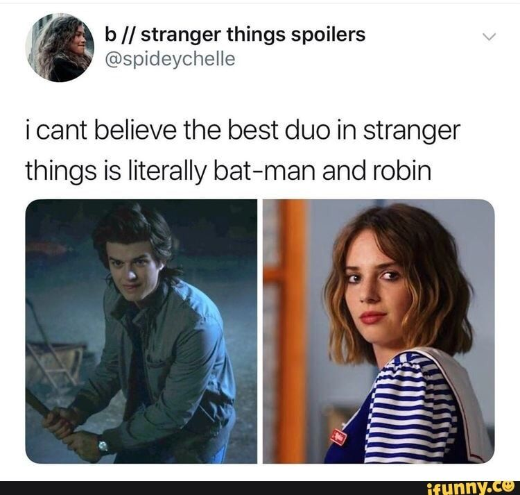 ( b // stranger things spoilers i @spideychelle i cant believe the best duo in stranger things is literally bat-man and robin – popular memes on the site iFunny.co #batman #movies #things #spoilers #cant #believe #best #duo #literally #bat #man #robin #pic