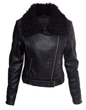 Crafted // PU Biker Jacket with Fur Collar