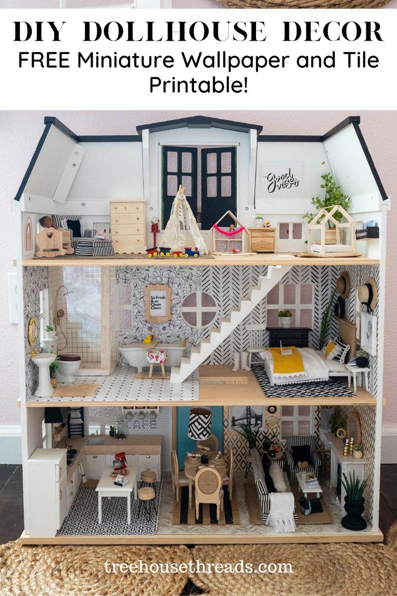 DIY Dollhouse Decor Free Miniature Wallpaper and Tile Printables Treehouse Threads