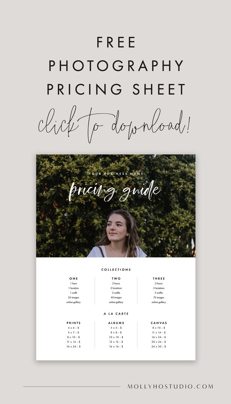 Free Photography Pricing Template Photography Price List Marketing Templates Photography Marketing Templates Photography Pricing Sheet Photography Pricing