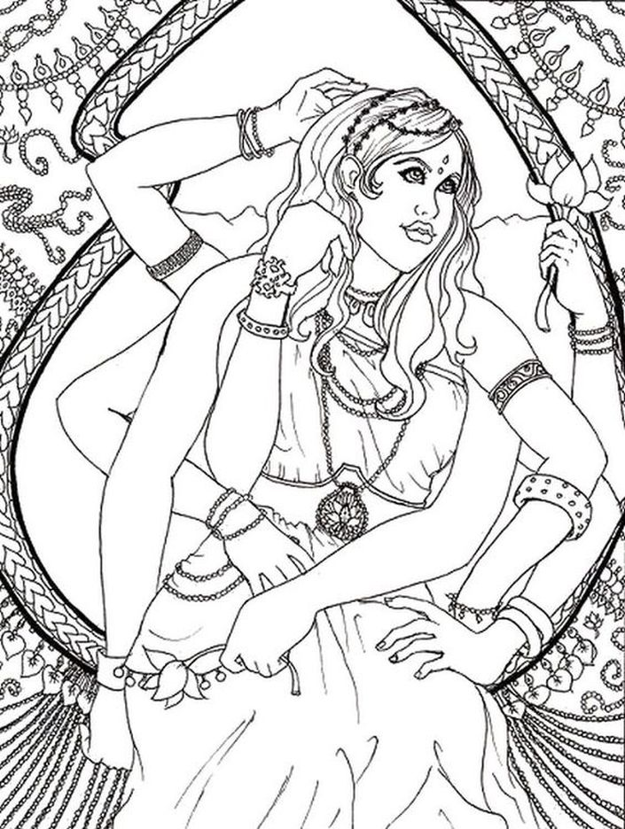 Hindu goddess hard coloring pages