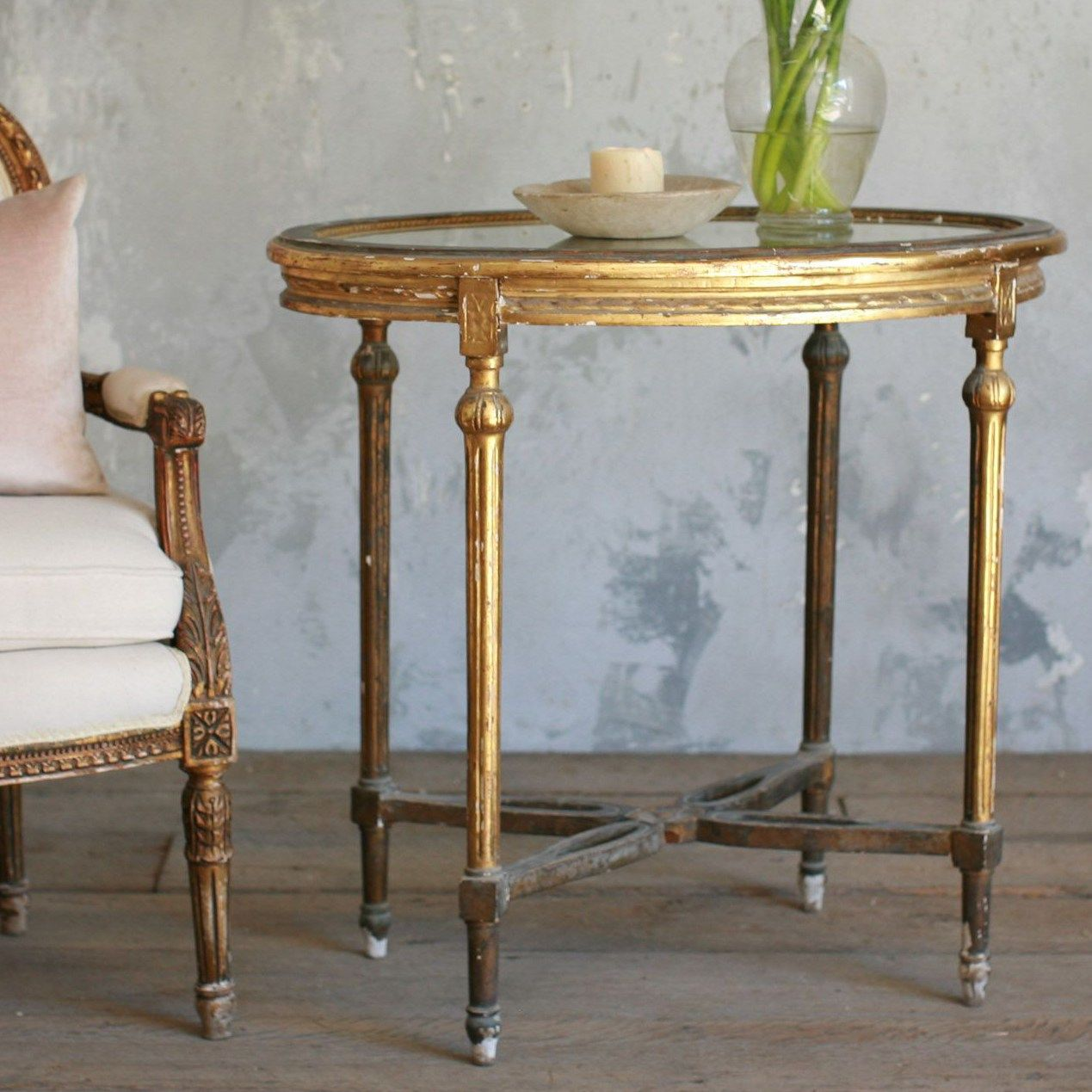 vintage entry table. One Of A Kind Vintage Entry Table Worn Gold Gilt E