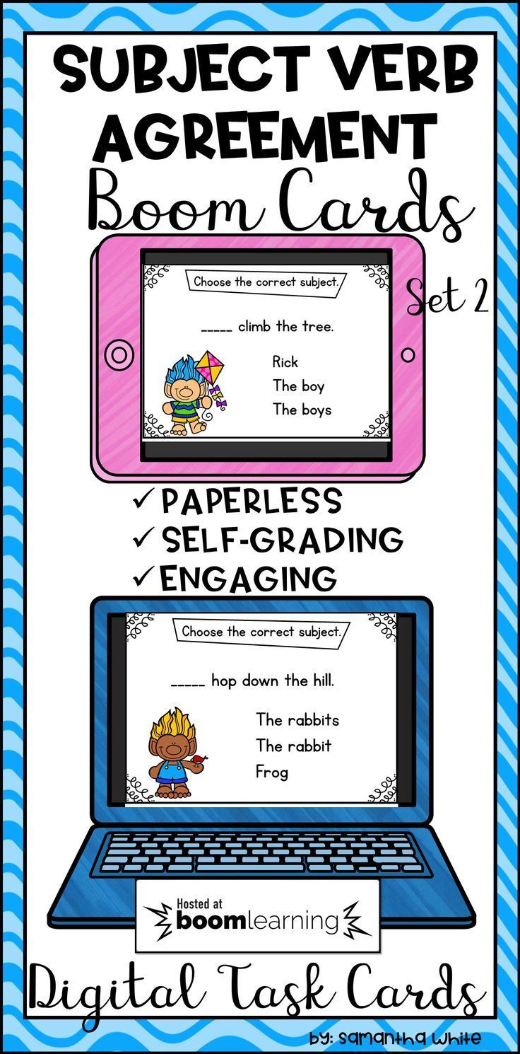 List Of Pinterest Subject Verb Task Cards Pictures Pinterest