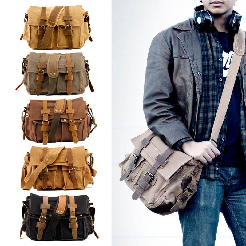 Men Vintage Style Canvas Leather Satchel School Military Shoulder Messenger Bag Men S Vintage Style Mens Outfits Military Messenger Bag