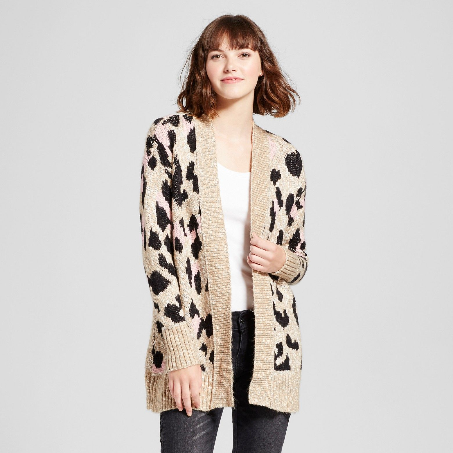 Mossimo Women's Leopard Print Cardigan Tan | Leopards and Printing