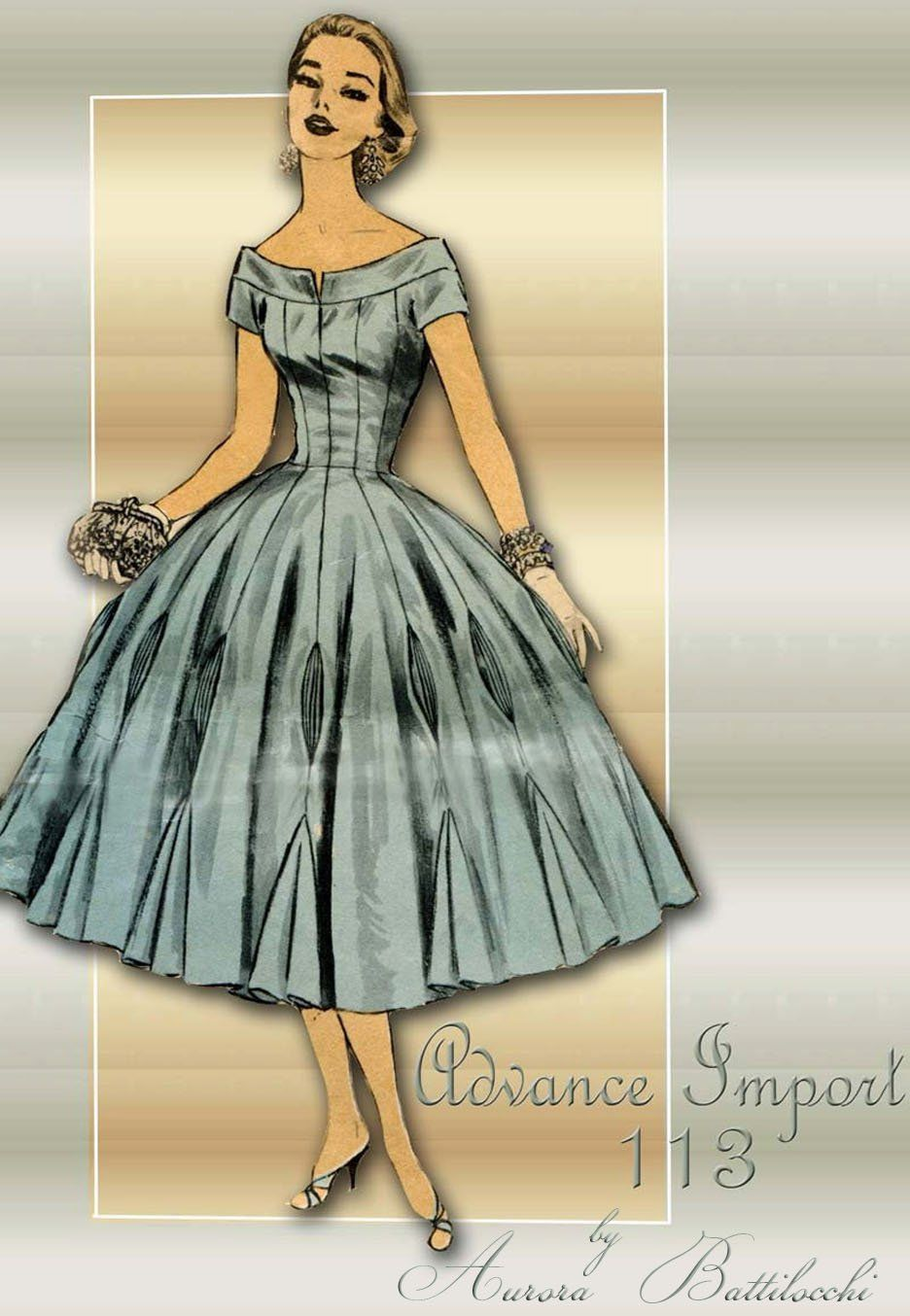 1950s Sewing Pattern Advance Import 113 Designer Cocktail Dress By Aurora Battilocchi Designer Cocktail Dress 1950s Dress Patterns 1950s Cocktail Dress [ 1354 x 936 Pixel ]