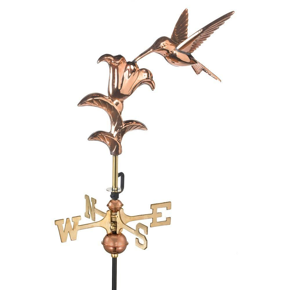 Good Directions Hummingbird Cottage Weathervane Pure Copper With Roof Mount 8807pr The Home Depot Garden Poles Good Directions Weathervanes