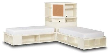 L Shaped Corner Twin Beds With Table Store It Bed