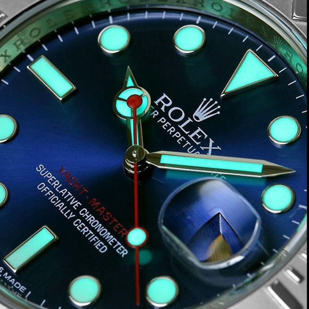 A cool close-up Rolex Yacht-Master lume shot  Photo by @RolexAholics