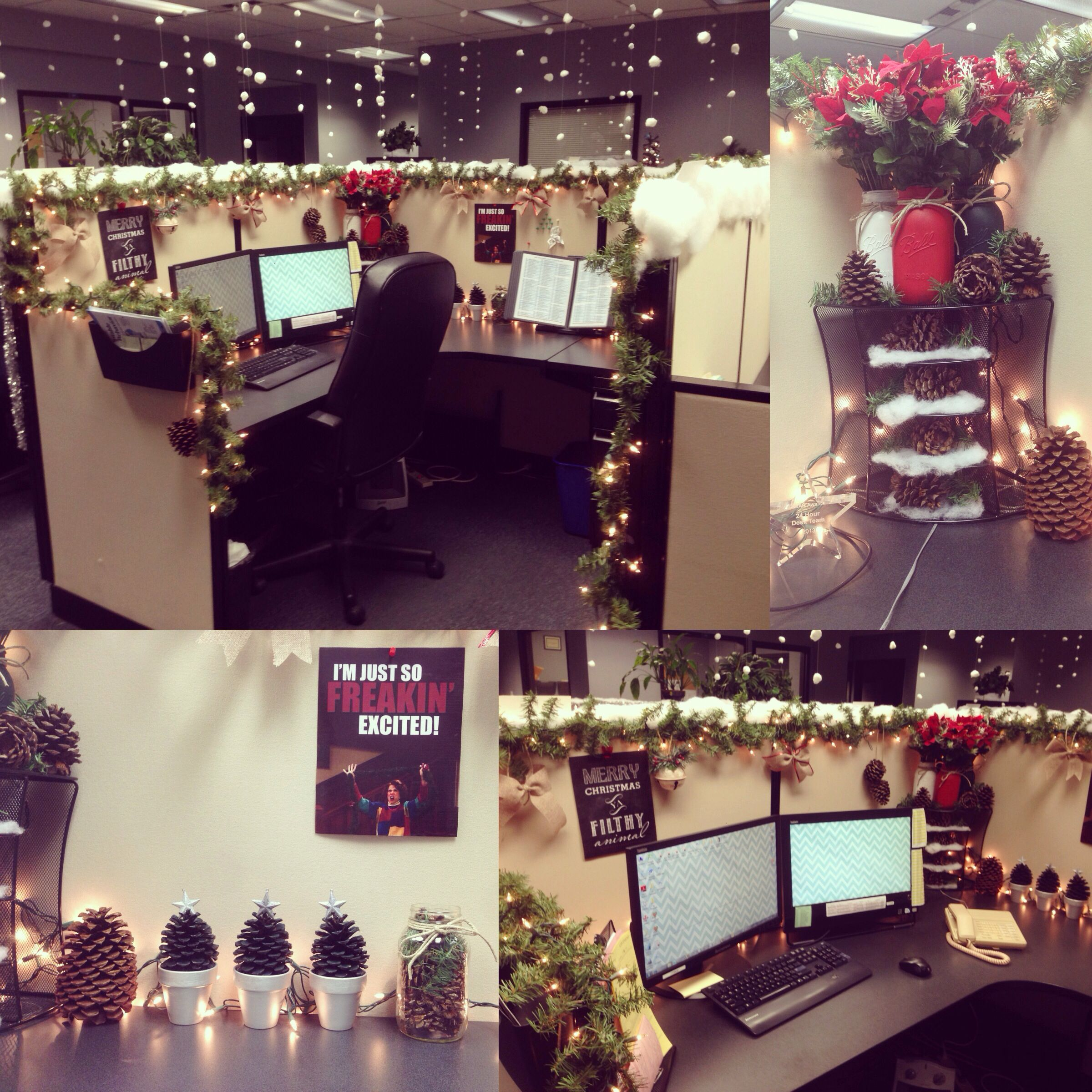 My Cubicle Decorated For Christmas.