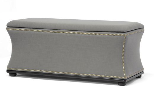 Wholesale Interiors Baxton Studio Liverpool Beige Linen Modern Storage Ottoman and Bench