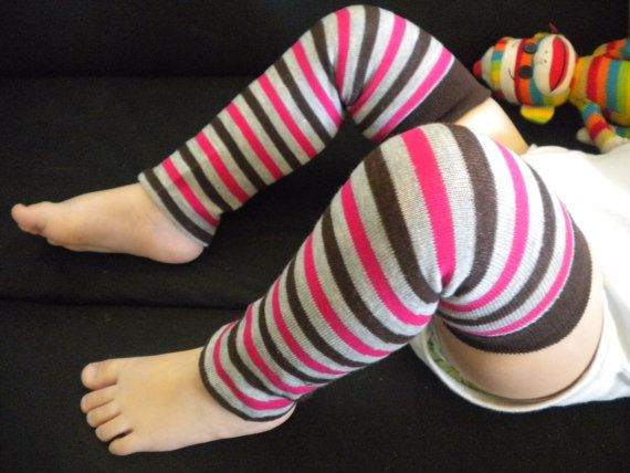 Baby Legwarmers Gray Brown and Pink by SweetPeasCommuniserv, $8.25
