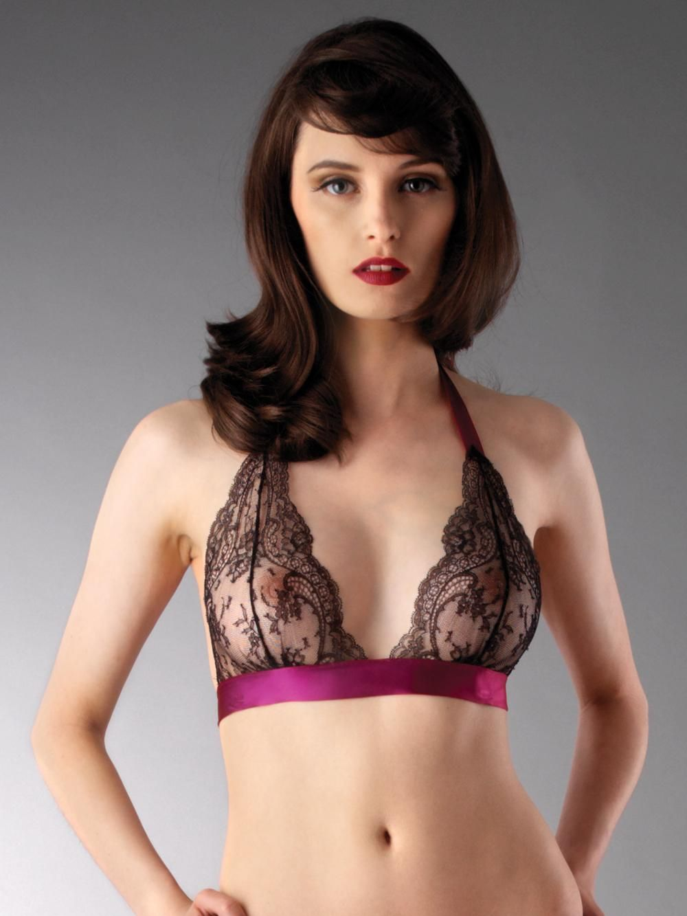 0d703173343 MYLA Gina silk and lace black soft bra AW2008 by Franceska Luther King with  hot pink satin ribbon