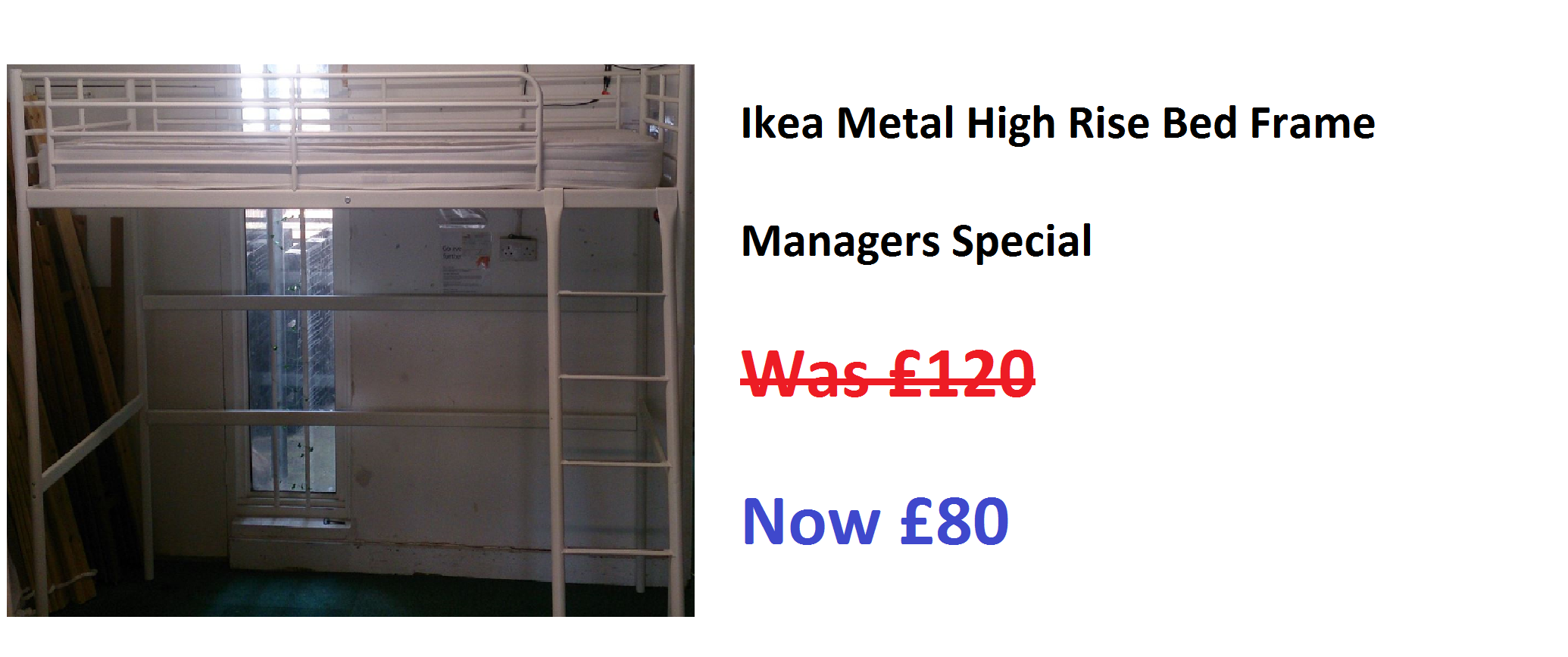 Metal Ikea High Rise Bed Without Mattress Now Reduced
