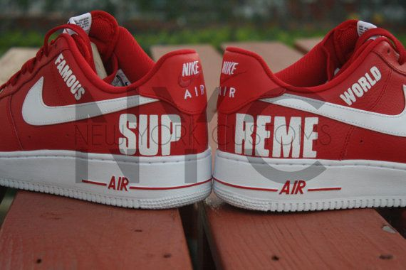 Supreme By Air 1 Custom Low On Force Men Nike Nycustoms High Etsy A3R4j5L