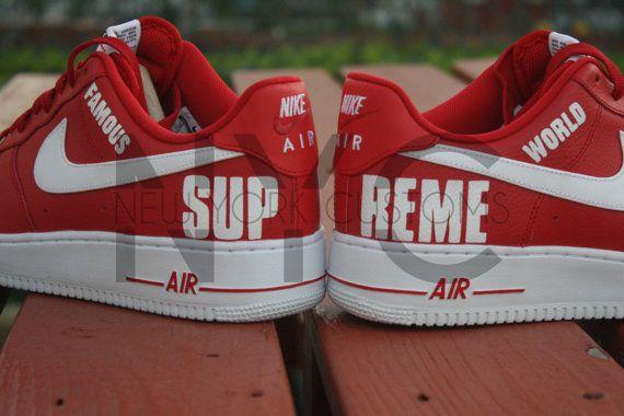 Supreme High Nike Air Force 1 Low Custom Men By Nycustoms On Etsy Custom Nike Shoes Nike Air Force Nike
