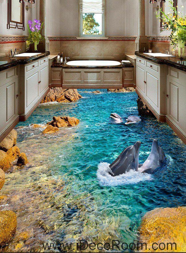 Dophin Bay Rocks 00069 Floor Decals 3d Wallpaper Wall Mural Stickers Print Art Bathroom Decor