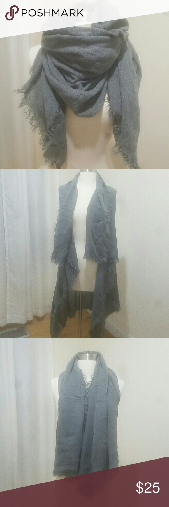 Gray blanket scarf Large oversized scarf Accessories Scarves & Wraps