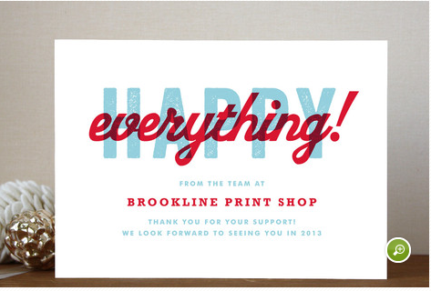 Happiness for all business holiday cards by root beer float available through orpheus photography