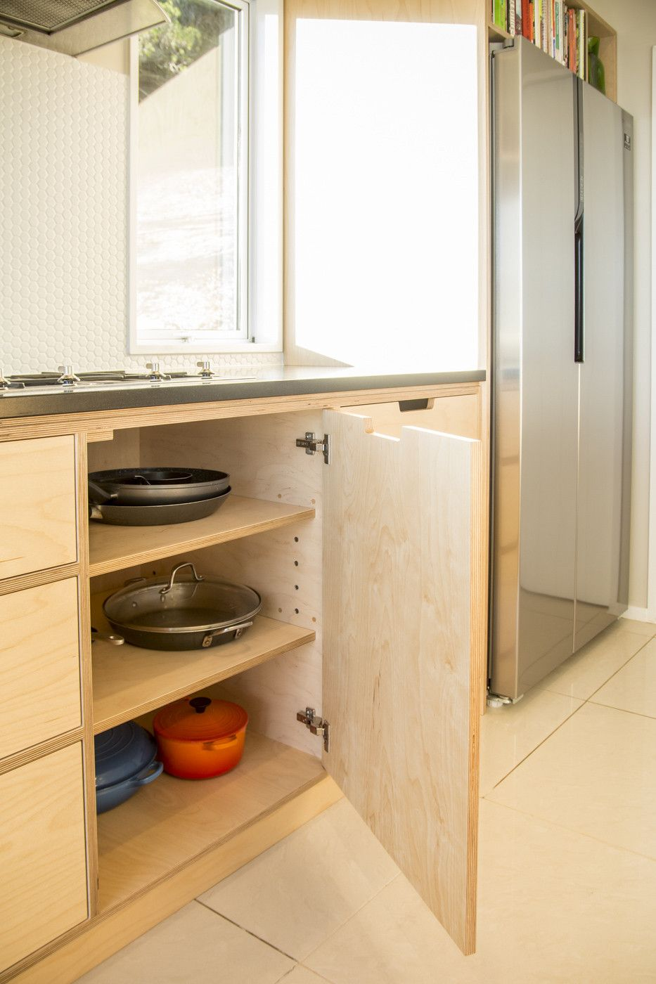 Crisp simple and modern plywood kitchen oiled birch for Kitchen base unit shelf