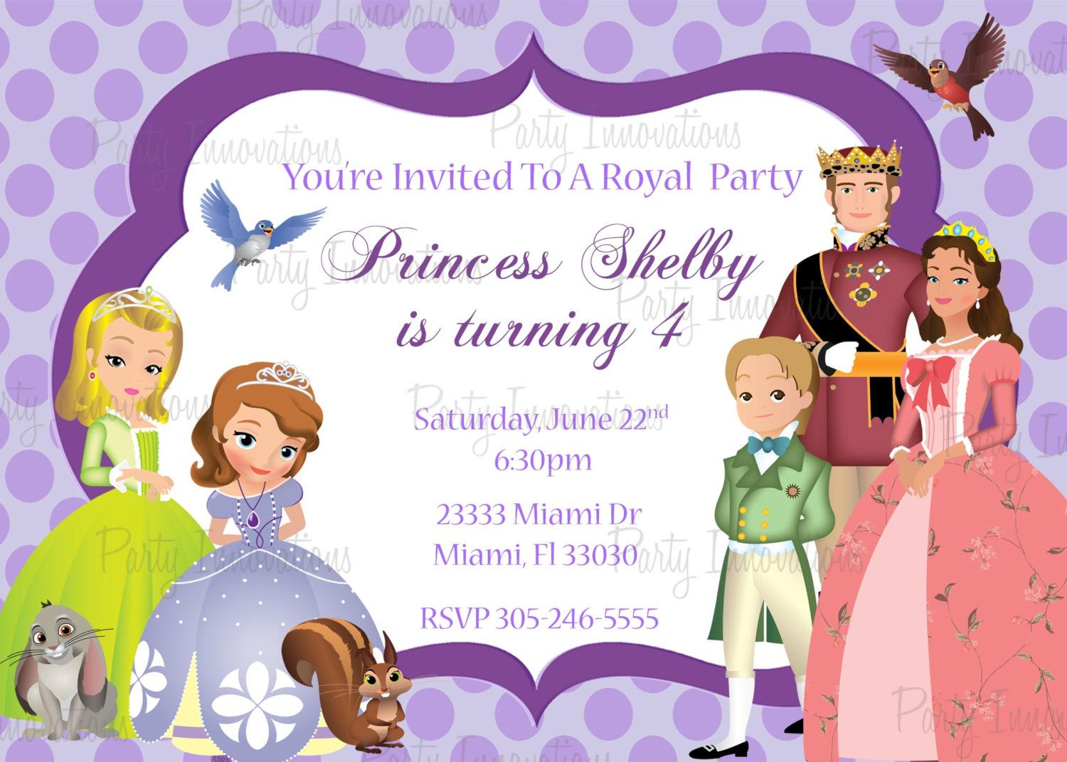 Princess sofia and the royal family birthday invitations party printable sofia the first birthday party invitation plus free blank matching printable thank you card bookmarktalkfo Gallery