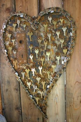 Wonderful recycled metal heart decorations