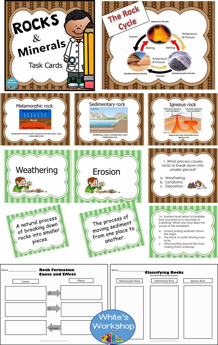 Rocks And Minerals Posters Vocabulary Cards Task Cards And Graphic Organizers Grades 3 5 Rock Cycle Activity Task Cards Vocabulary Cards