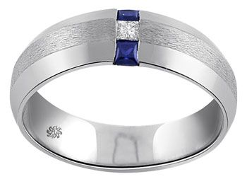 carat lex mans diamond sapphire wedding band a rich blue color against a stark white background gives this wonderful mans gemstone and diamond ring a - Mens Sapphire Wedding Rings
