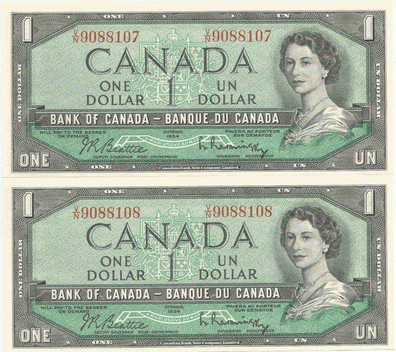 Banknote 2 Consecutive Uncirculated 1954 Canadian 1