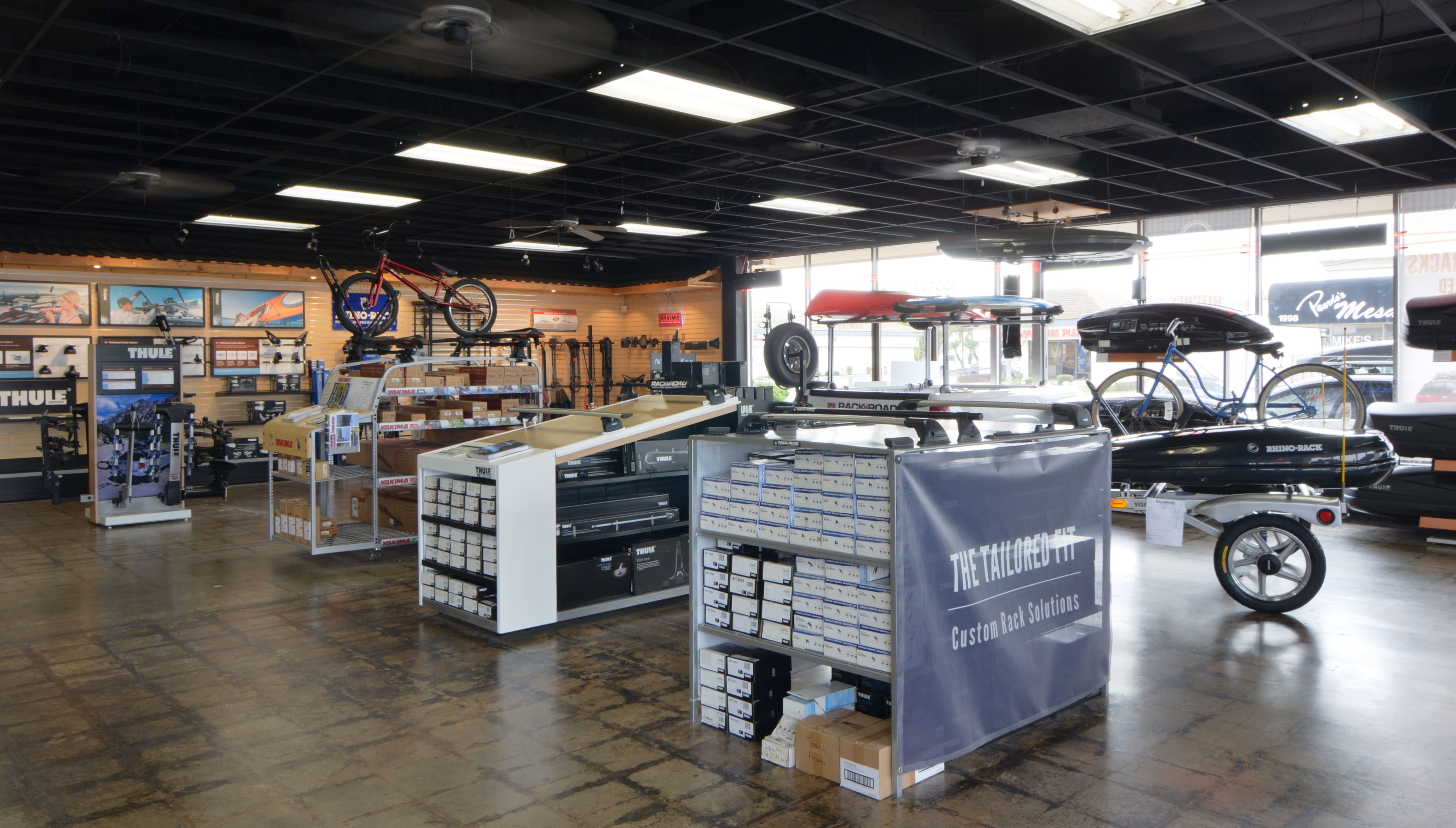 Inside our Rack N Road Costa Mesa, CA showroom, displaying our Thule